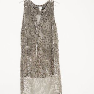 Sheer Tunic/Shift closed in front Green/Gold